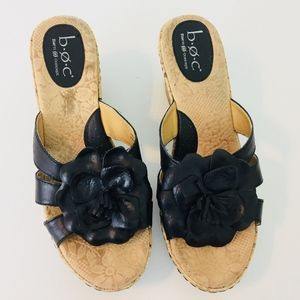 BOC by Born Black Leather Flower Wedges A45